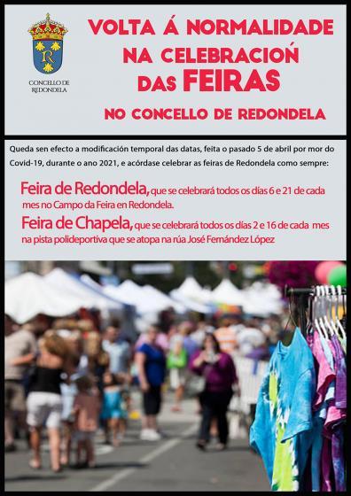 As feiras e mercados de Redondela recuperan a súa data habitual de celebración