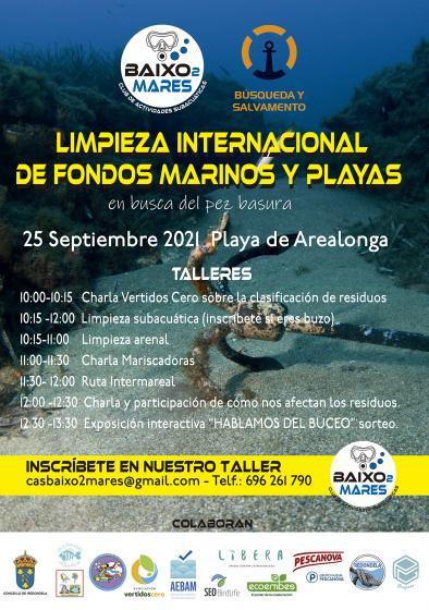 """Xornada da """"Gran Limpeza Internacional de fondos mariños e praias"""" en Arealonga"""