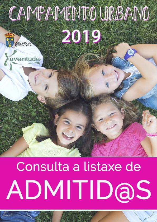 Listaxe de admitid@s para participar nos campamentos urbanos para nen@s de 2019
