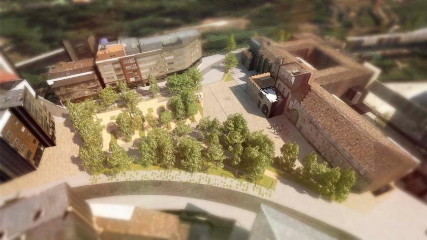 """Comezan as obras de remodelación da Praza de Ponteareas para converter a principal entrada á vila """"nun espazo amable pensado para a cidadanía"""""""
