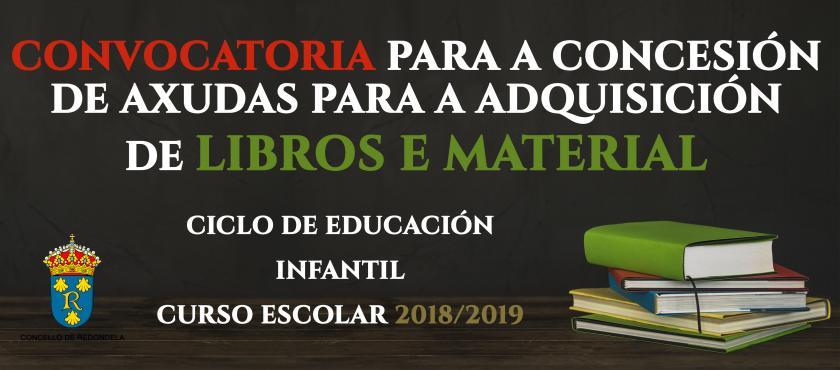 Convocatoria de axudas para libros e material escolar Educación Infantil