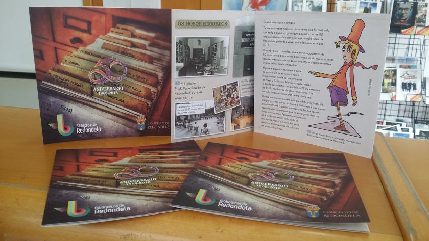 As Bibliotecas Municipais de Redondela celebran o seu 50 aniversario e presentan un tríptico conmemorativo da efeméride